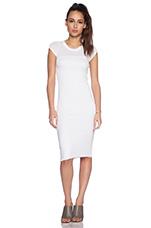 Lycra Rib Cap Sleeve Dress in White