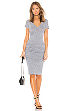 Shirred Tee Dress in Granite
