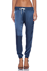 Rayon Satin Athletic Sweatpant in Blue Steel