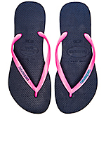 Sim Logo Pop Up Flip Flop in Navy & Pink