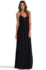 Drape Front Maxi Dress in Black