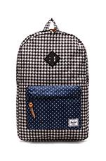 Heritage Backpack in Houndstooth/ Navy Polka Dot
