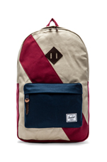 Studio Collection Heritage Backpack in Bone & Navy & Burgundy