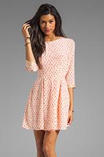 Fit & Flare Dress in Peach Dot