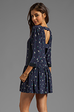 Drop Waist Cut-Out Dress in Navy Floral