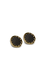 Sunburst Button Earrings with Black Leather in Gold