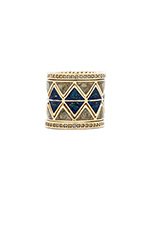 Reflector Ring Stack in Lapis & Pyrite