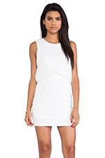 Silk Twist Layer Mini Dress in White