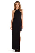 Leather Trim Cutout Dress in Black