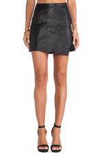 Asymmetrical Leather Skirt in Black