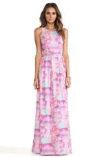 Ivory Gate Maxi Dress in Petal Print