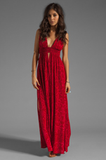 Anjeli Empire Maxi Dress in Antik Red