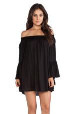 Kamani Flounce Ruffle Edge Mini Dress in Black