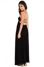 Flamingo Smocked Bandeau Cutaway Maxi Dress in Black