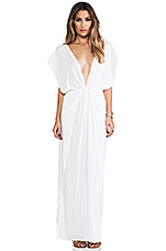 Jade V Neck Draped Lounge Dress in White