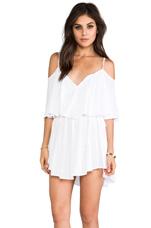 Zhina Rayon Chiffon Flounce Mimi Dress in White