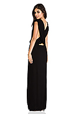 Jade Rayon Crepe Plunging V-Neck Draped Cross Back Maxi Lounge Dress in Black