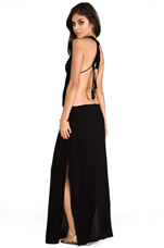Nyx Rayon Crepe Split Front Open Back Halter Maxi Dress in Black