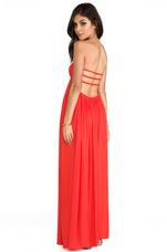 Flamingo Rayon Crepe Smocked Bandeau Maxi Dress in Papaya