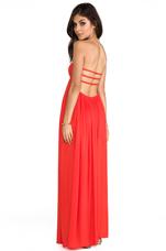 Flamingo Rayon Crepe Smocked Bandeau Maxi Dress in Papaya