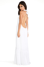Denver Rayon Chiffon Halter Dress With Flounce Detail in White