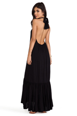 Denver Rayon Chiffon Halter Dress With Flounce Detail in Black