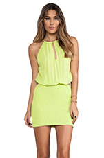 Canoa Blouson Cut Away Smocked Mini Dress in Citrus