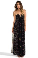 Flamingo Smocked Bandeau Maxi Dress in Black Endek