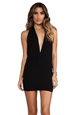 Joey Deep V Mini Dress in Black