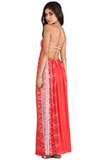 Flamingo Smock Bandeau Maxi Dress in Coral Endek