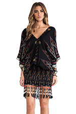 Bayan Fringed Mini Dress in Black Endek