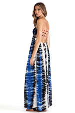Flamingo Smock Bandeau Maxi Dress in Static Blue