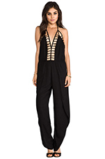 Gypsy Deep V Cut Out Trim Jumpsuit in Black