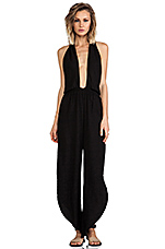 Pearl Cross Front Halter Jumpsuit in Black