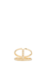 CZ Center H Ring en Or Vermeil