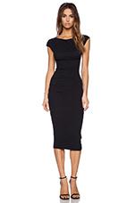 Sleeveless Tucked Dress in Black