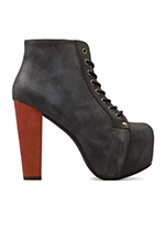 Lita Platform Lace-up Boot in Black Distressed