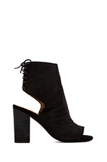 Quincy Open Toe Heeled Booty in Black Nubuck