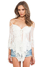 Ethereal Butterfly Top in White Sand