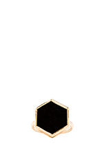 Hexagon Ring in Onyx
