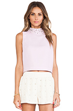 Embellished High Collar Sleeveless Cropped Top in Lilac