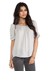 Eleanor Matte Silk Top in Light Smoke