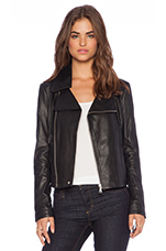 Cropped Leather Moto Jacket in Black