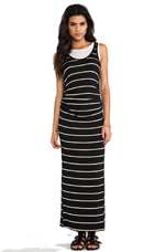 Double Layered Astrid Maxi Dress in Black/White Stripe over White