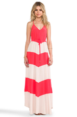 Somer Combo Maxi Dress in Red & Nude Combo