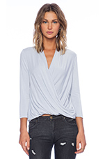 3/4 Sleeve Surplice Blouse in Sleet