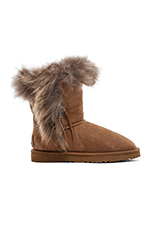 Trishka Short Fur Boot in Chestnut