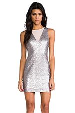 Hollywood Sequin Dress in Matt Silver