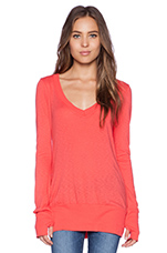 Long Sleeve V Neck Tee in Tomato