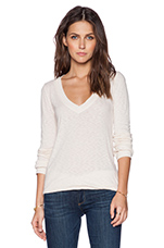 Long Sleeve V Neck Top in Birch